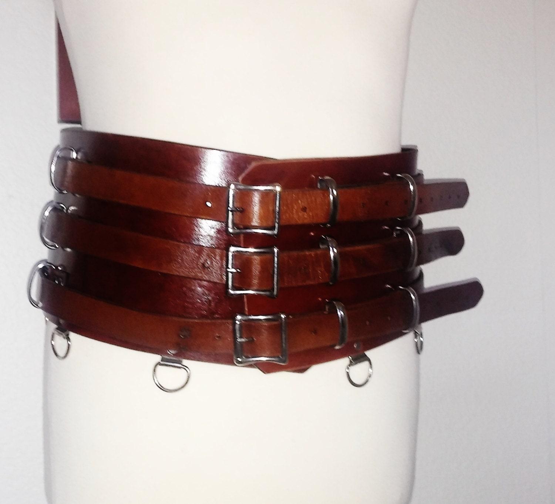 s m l brown leather kidney belt