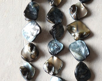 """Irregular shell beads in dark blue, 14"""" strand of large shimmering shell beads, blue mother of pearl beads, MOP beads, blue shell beads"""