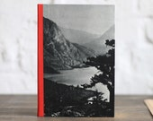 """Handmade Blank Book """"Mountain Lake"""", Made with Upcycled Photo Pages"""