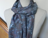 Silky gray and maroon hand dyed long silk scarf, Ready to Ship silk scarf #431