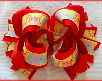 Valentine Hair Bow....Valentine Bow...Elephant Valentine Bow...Elephant Hair Bow..Red and Yellow Hair Bow...Alabama Valentine Bow