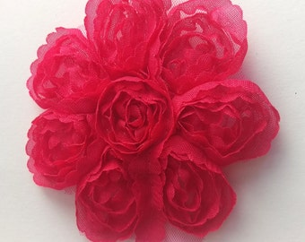 Hot Pink Baby Hair Flower w Free Headband