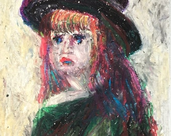 Original Oil Pastel Portrait Painting/ Illustration- Girl with a Hat