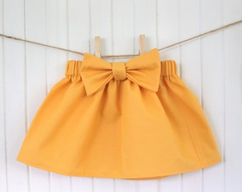 Baby Skirt/ Mustard/ Yellow/ Girls/ Ruffle/ Bow/ High waisted/ Girly/ Cute / Toddler/ Newborn
