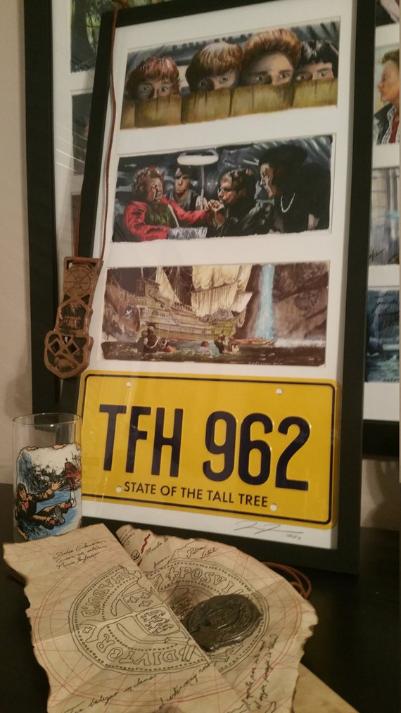 3 Framed Goonies prints with License Plate