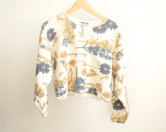 90s FLORAL twin peaks CROPPED sweater boxy cut