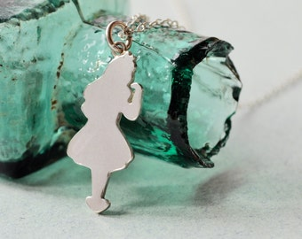 Silver Alice in Wonderland Pendant