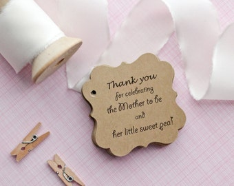 Baby Shower Gift Tags-Baby Shower Paper Goods-Thank You Tags- Sweet Pea Favor Tags-Customized Favor Tags-Gift Tags-Set of 40