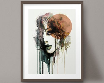 Watercolor Portrait Art Print Organic Dripping Paint Female Face