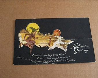 Vintage Halloween Greetings Card    unknown Maker  Witch and Pumpkin ..full Moon  very cool