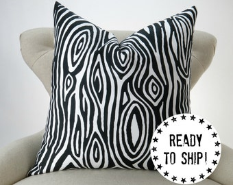 """Ready to Ship! Black Pillow Cover, Black and White Decor, Faux Bois Wood Grain Throw Pillow, Willow by Premier Prints, for an 18x18"""" pillow"""