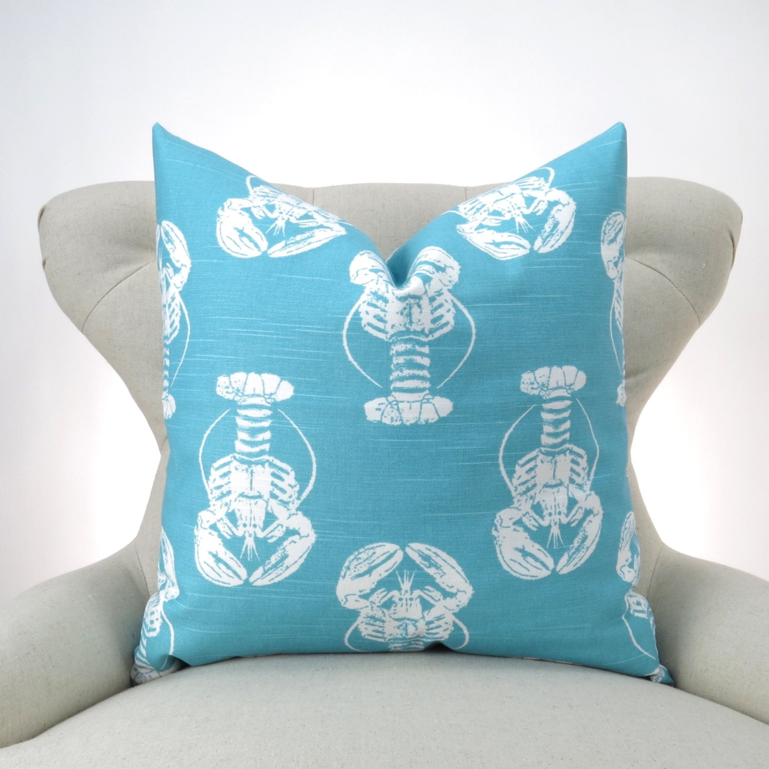 Coastal Blue & White Throw Pillow Cover MANY SIZES Blue
