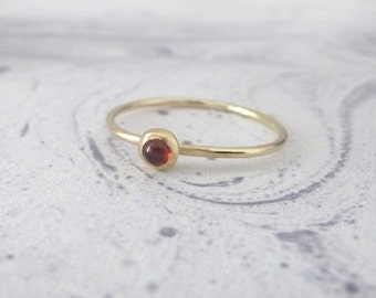 Garnet Ring - 9ct Yellow Gold Ring - Orbit Collection - Stacking Gold Rings - Skinny Gold Rings