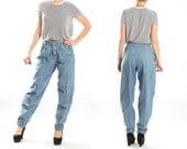 Vintage Denim High Waist Pants / Balloon Cotton Trousers / Retro 90s Club Kid Pants / Baggy Denim Pants / Light Blue / Womens Size Small 8 6