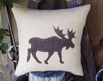 Throw Pillows, Burlap Pillow Covers, Outdoor Pillows, Decorative Pillows, Farmhouse Pillows, Moose Silhouette, Moose Pillow, Rustic Decor