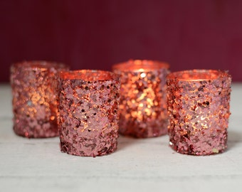 Pink wedding decorations; Pink votive candles; Sequin Votive Holders Pink 2.5in (Pack of 4); Wedding Centerpieces; Candle Holders