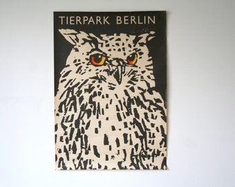 SALE 30% off! -  Original Berlin Tierpark Zoo  Advertising Poster- (GDR/East Germany/DDR) 1977 - owl design (P118)