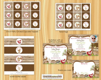 Woodland Birthday Party Package   Woodland Birthday Invitation   Woodland Creatures   Party Decorations   Cupcake Toppers, Banner
