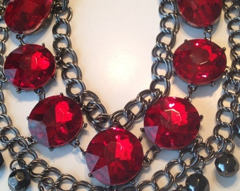 Gorgeous Vintage Runway Bib Necklace ~ Triple Strand ~ HUGE Glass Red Stones ~ 80s Bling! ~ Statement Piece ~ NICE