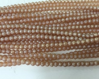 4mm round ,faceted, chinese crystal glass, frosted ,65 beads