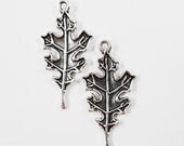 Oak Leaf Charms 28x13mm Antique Silver Leaf Charms, Silver Leaf Pendants, Autumn Charms, Nature Charms, Metal Charms for Jewelry Making 10pc