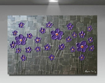 SALE Original  Modern  Purple  Metallic   Silver Flowers Abstract Impasto Palette Knife   Painting .  Ready to ship.40 x 30.
