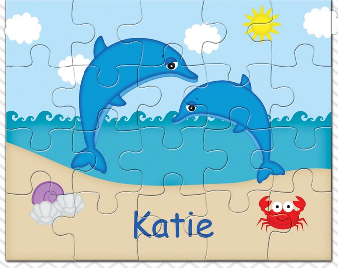 Featured listing image: Dolphins Personalized Puzzle, Personalized Dolphins Puzzle, Personalized Kids Puzzle