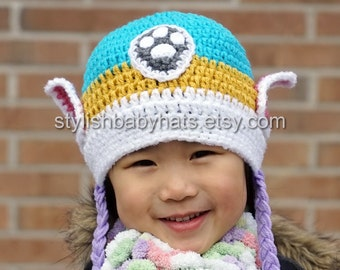 Everest Hat, PAW Patrol Hat, Crochet Baby Hat, Husky Dog Hat, photo prop, Inspired by Everest from PAW Patrol