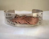 In Her Dreams She Had Wings and Could Fly Brave Girl Sterling Cuff Bracelet Ready to Ship by ShesSoWitte