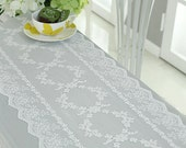 Free Shipping Handmade Wedding VTG Antique Handmade Table Doily Runner,Embroidery&Lace White color - 31x120cm~260cm