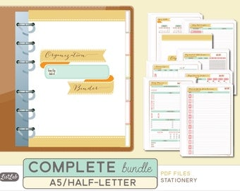 A5 2016 PLANNER COMPLETE BUNDLE  - Printable A5 Inserts - Stationery Theme - 137 sheets