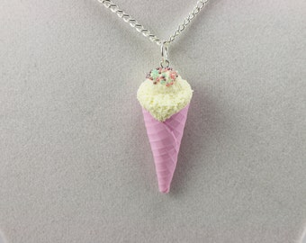 Pastel Pink Ice Cream Cone Necklace with Pastel Color Sprinkles - Food Jewelry, Kawaii Jewelry, Polymer Clay Jewelry, Dessert Jewelry