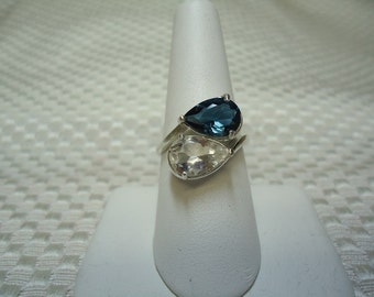 Double Pear London Blue and White Topaz Ring in Sterling Silver