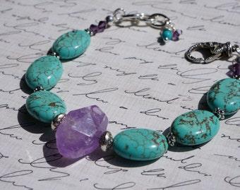 Turquoise & Amethyst Gemstone Bracelet