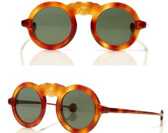 SUPER S.A.L.E was 325 now 250 couture vintage 70s/80s LAURA BIAGIOTTI handmade Shanghai round tortoiseshell frame sunglasses shades eyewear
