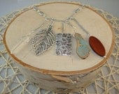 Silver Charm Necklace- Leaf, Crystal, Wood, Butterfly, Turquoise- One of a Kind!