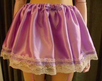 S-4X; Sissy Skirt Lavender Satin S M L XL 2XL 3XL 4XL 2X 3X 4X Adult Baby Lingerie Slip Cosplay CD Drag Purple