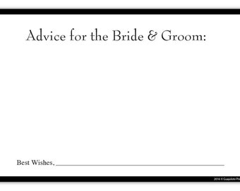 Guajolote Prints Wedding Advice Cards for The Bride & Groom 24 Count Party Favors Black Border