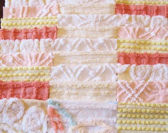 """36 Vintage Chenille Bedspread 6"""" Quilt Squares Fabric Kit Peach Yellow White"""