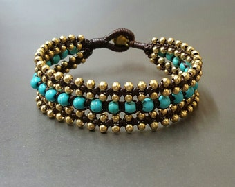 Elegant Turquoise  Brass Bracelet