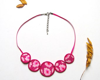 Pink Fabric Necklace Quintet by MW