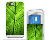 Green Leaf iPhone 6 6s Card holder Case - Leaf of Knowledge - Credit Card Apple iPhone 6 Case with Rubber Sides