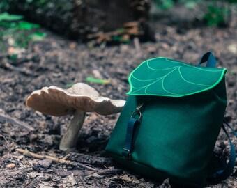 CUSTOM Leaf Mini Backpack,Woman's Rucksack,Waterproof Hipster Backpack,Durable Woodland Design, MADE to ORDER