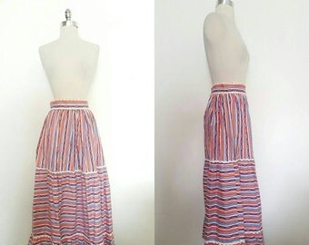 ON SALE 1950s Vintage Women's Three Tiered Striped Red White & Blue Skirt