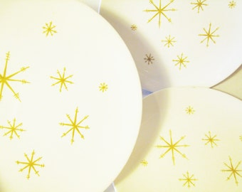 Lot of 3 Dinner Plates Royal China Star Glow / Starglow / Atomic Mid Century Modern Gold Starburst Retro Dinnerware / '50s 1960s Dining