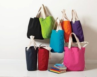 TOTE CHOICE NO. 23 Contrast lining, striped handles casual tote cotton canvas Interior zippered pocket