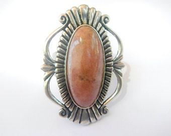 SALE Relios Southwest Sterling Silver Rhodochrosite Ring