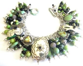 Stunning Southwest Native American-Inspired Sterling Silver Black Onyx & Chrysoprase Charm Bracelet