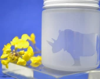 Glass Jar, Sandblasted Rhino Glass Jar, Stash Jar, Sand Etched Jar, Spice Jar, Frosted Glass Jar, Baby Food Jar