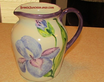 Pitcher, Iris Blues Purples on White Ceramic Pottery, Artist signed & Numbered, Purple Blue Green Country Kitchen ~ BreezyJunction.etsy.com